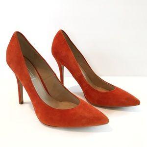 Topshop Orange Suede Pointed Toe Heels Pumps